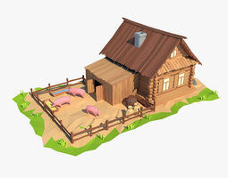 Cartoon wooden house 3D model