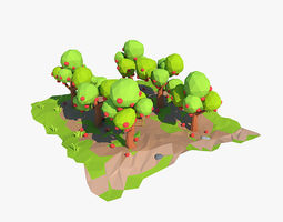3D model realtime Cartoon apple orchard