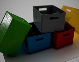 Plastic Box Clean and Dirty versions 3D asset
