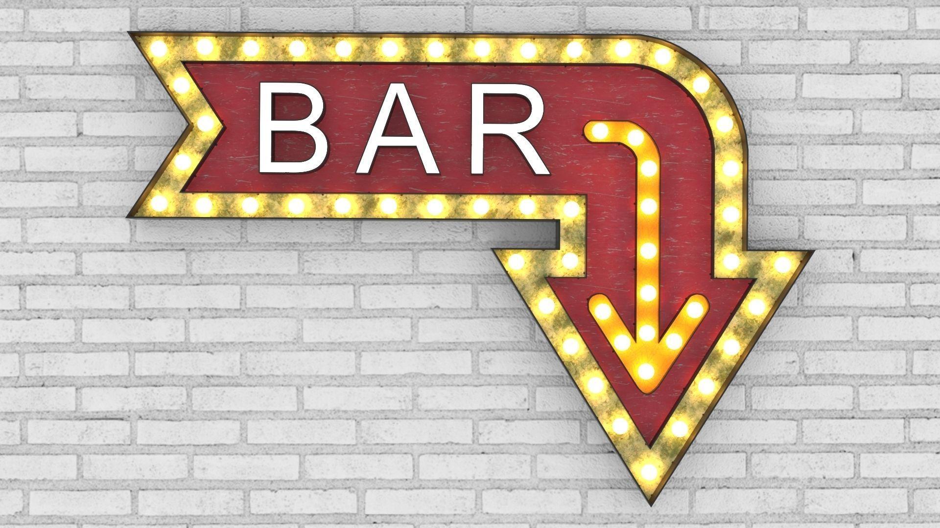 3D model Large Up Letters Light Bar Sign | CGTrader