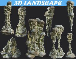 3D model Low poly Mossy Cave Column Modular