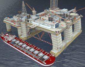 Oil derrick level constructor 3D model
