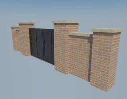 brick wall gate 3D model