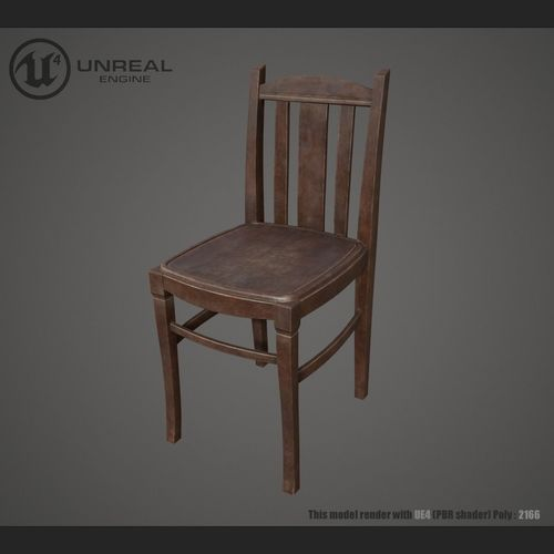 chair wooden 3d model low-poly max obj mtl fbx 1