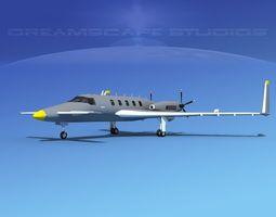 animated 3d model beechcraft starship 2000 t04