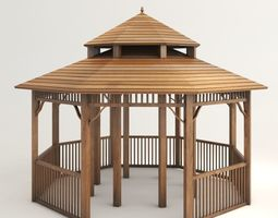 3D model space Wooden Gazebo