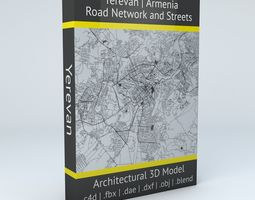 3D model map Yerevan Road Network and Streets