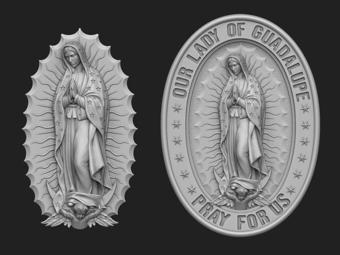 our lady of guadalupe medallion set 3d model obj mtl stl 1