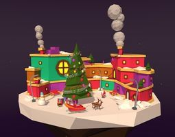 low-poly Cartoon Low Poly Christmas Island 3d Asset