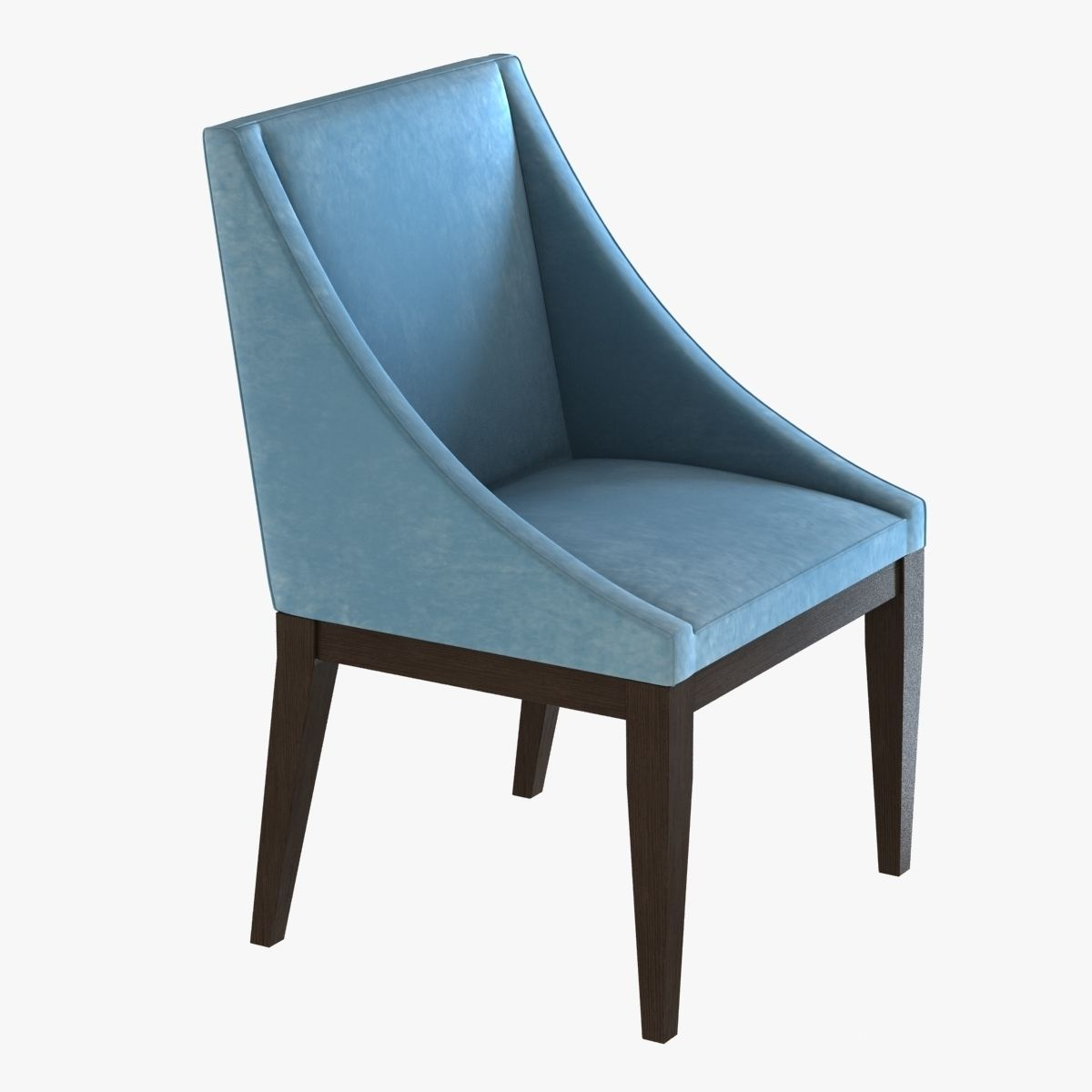 West Elm Curved Upholstered Chair 3d Model Max Obj 3ds Fbx Mtl 1 ...
