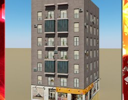 Photorealistic Low Poly Building commercial 3D