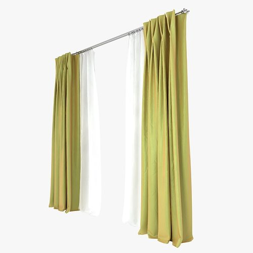 Double Pinch Pleat Curtains 3D