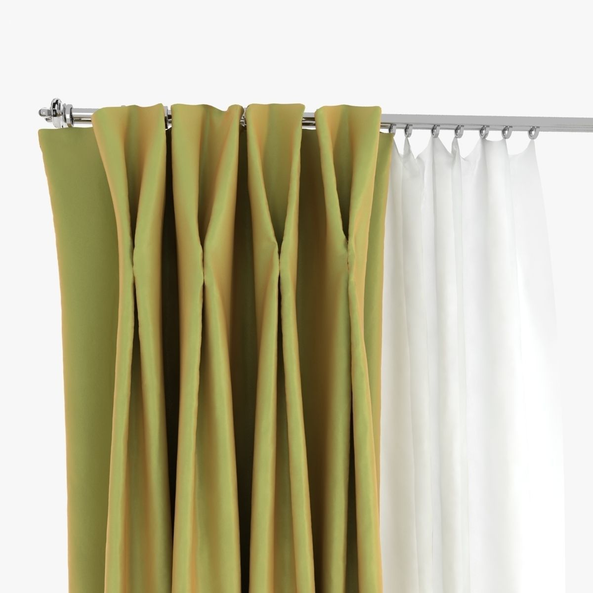 Double Pinch Pleat Curtains 3D | CGTrader for Double Pleated Curtains  76uhy