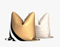 pair of gold silk striped sleeve throw pillows 3d