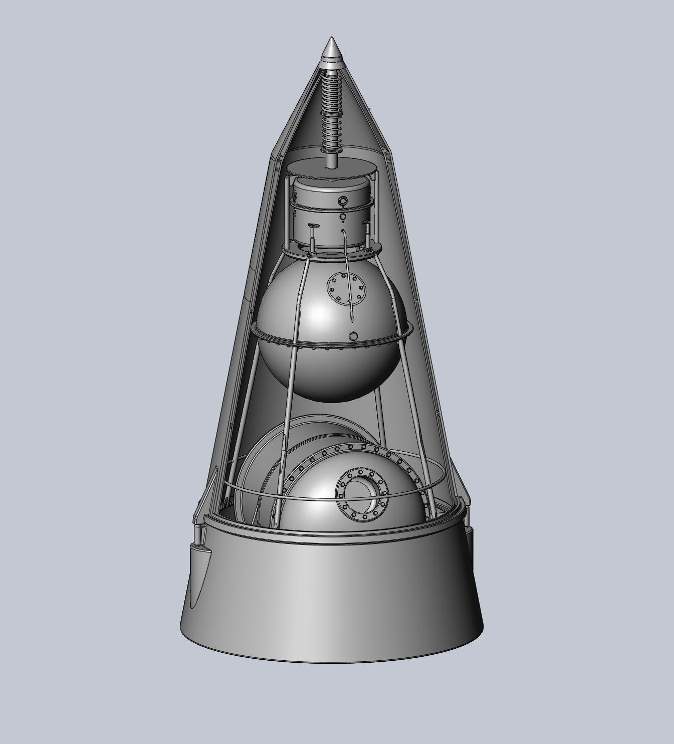 Sputnik 2 Laika Capsule Cutaway And Assembly Printable Model