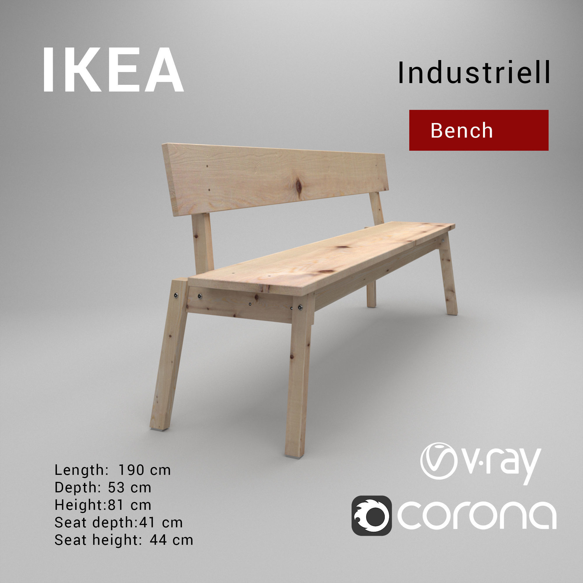 Marvelous Industriell Ikea Bench 2018 3D Model Squirreltailoven Fun Painted Chair Ideas Images Squirreltailovenorg