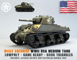 Low Poly M4A3 Sherman Medium Tank 3D asset