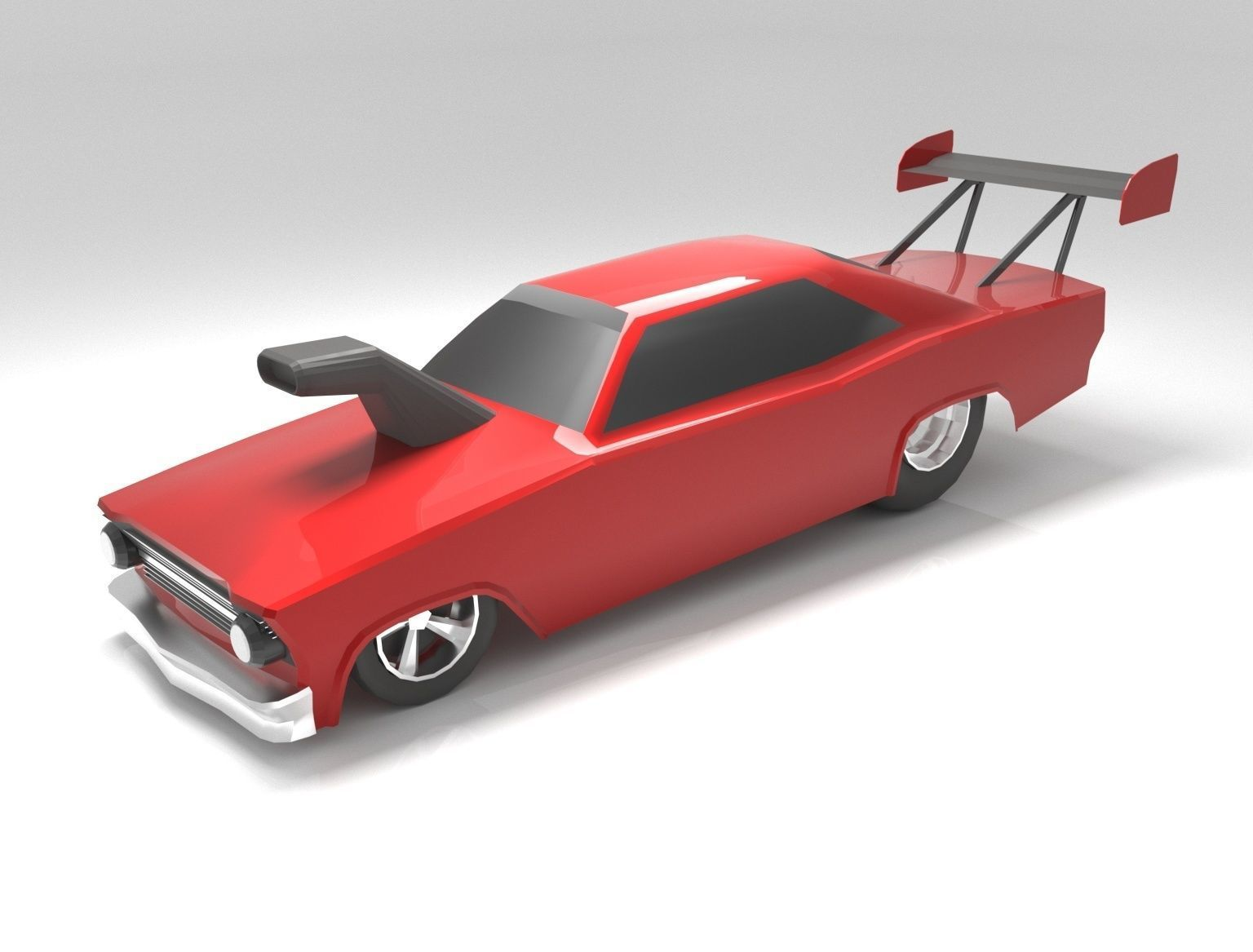 Drag Car low-polygon 3D model | 3D model