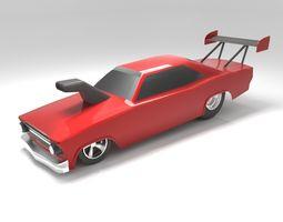 VR / AR ready Drag Car low-polygon 3D model