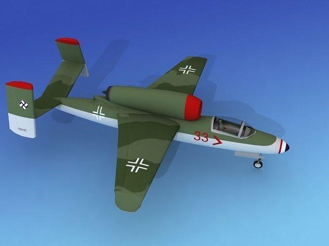 heinkel he 162 volksjaeger v03 3d model rigged max obj 3ds lwo lw lws dxf 3dm 1