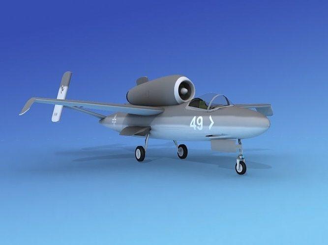heinkel he 162 volksjaeger v07 3d model rigged max obj 3ds lwo lw lws dxf 3dm 1