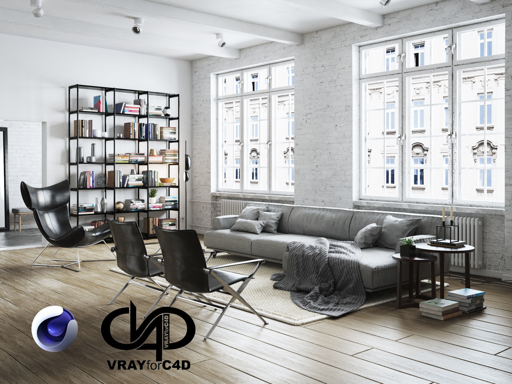 Living Room Interior Scene for Cinema 4D and Vray | 3D model