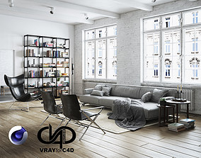 Living Room Interior Scene for Cinema 4D and Vray 3D