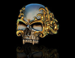 Flame skull ring biker 3D printable model