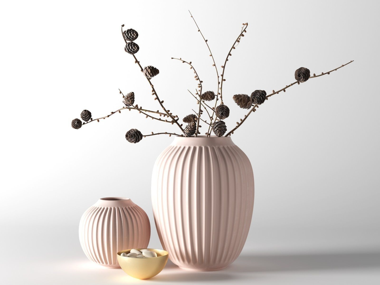 Hammershoi Vases with Pine Cone Branches