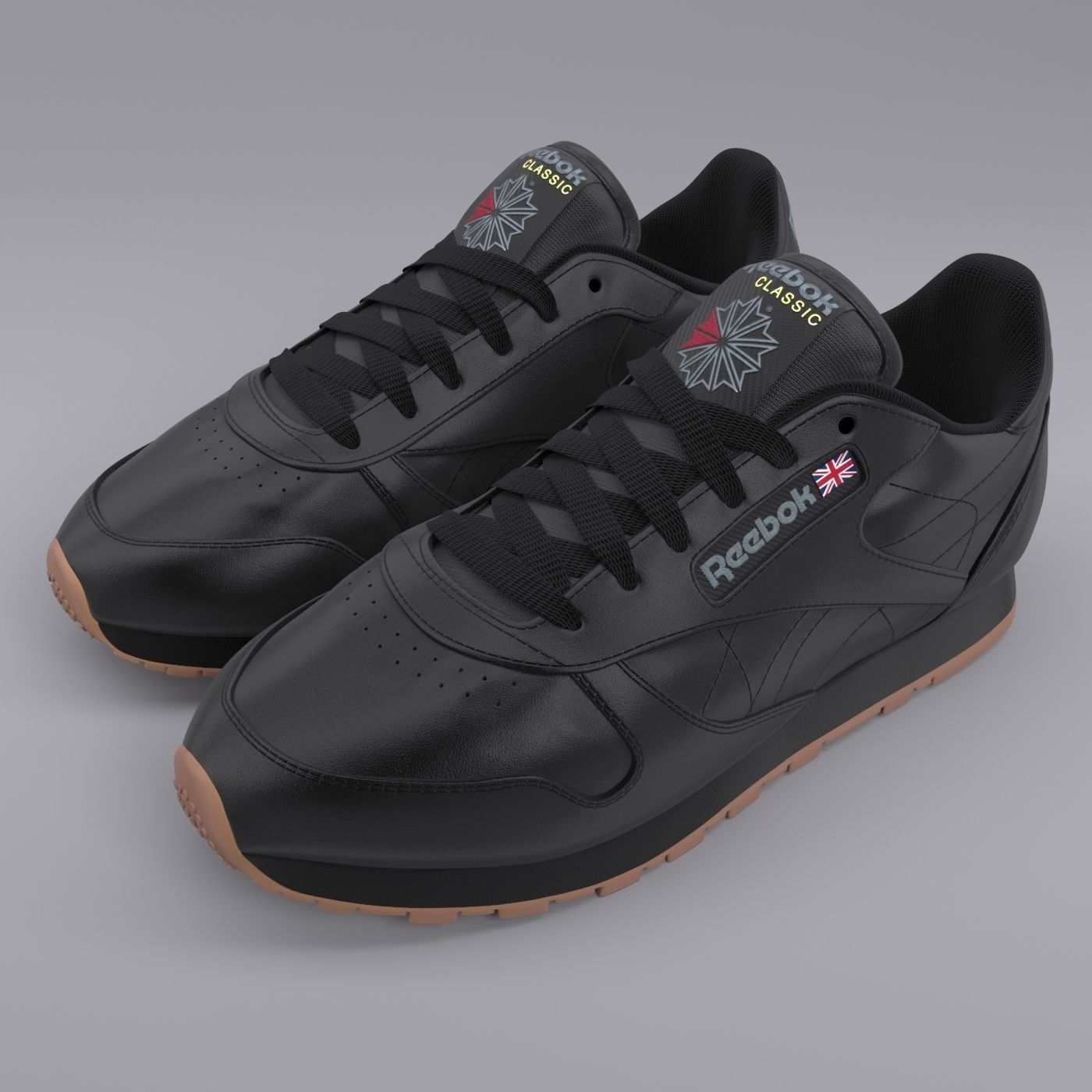 Reebok Classic Leather Black Gum PBR | 3D model