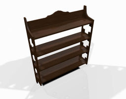 Wooden wall shelf 3D