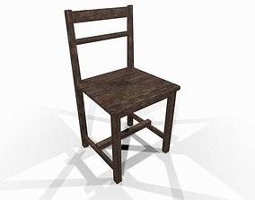 Worn wooden chair 3D