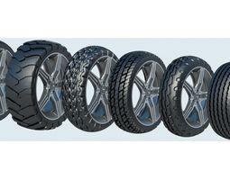 Set of 14 car tires 3D
