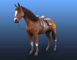 3D asset Horse Very Clean Scene and Game ready