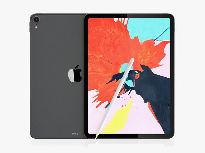 ipad pro 11 gray and pencil 2018 3d model max obj mtl 3ds fbx c4d ma mb 1