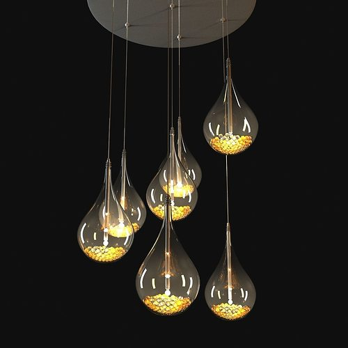 John lewis sebastian 7 light drop ceiling light 3d model max obj 3ds fbx mtl
