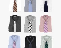 collection of shirt with tie 3d model