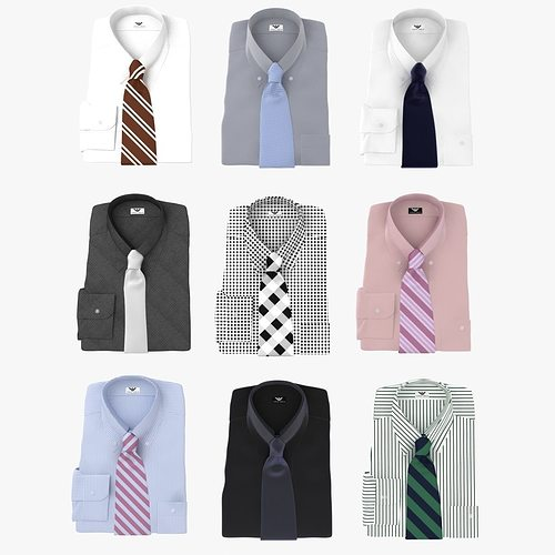 collection of shirt with tie 3d model max obj mtl 3ds fbx 1
