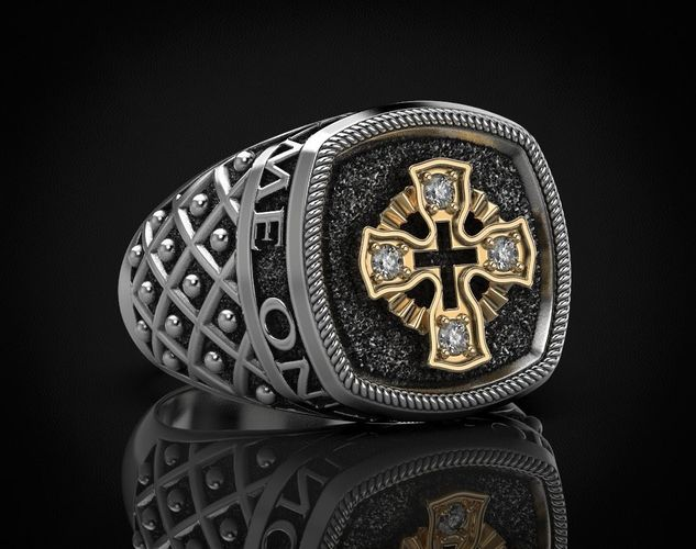 ring with a cross and patterns on it 440 3d model stl 3dm 1
