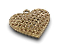 pendant wicker heart 3D printable model