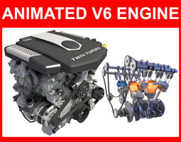 V6 Engine with Gasoline Ignition Animation 3D