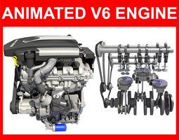Animated V6 Engine 3D