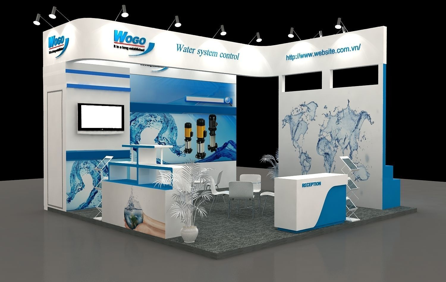Exhibition Booth Obj : Exhibition booth 6x6m 3 sides open 3d model