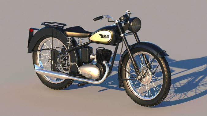 bsa bantam d1 motorcycle 3d model max obj mtl 3ds fbx c4d dxf 1