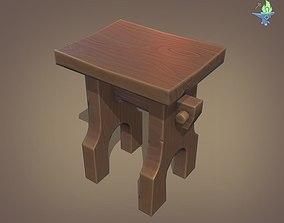 3D asset Gothic Stool