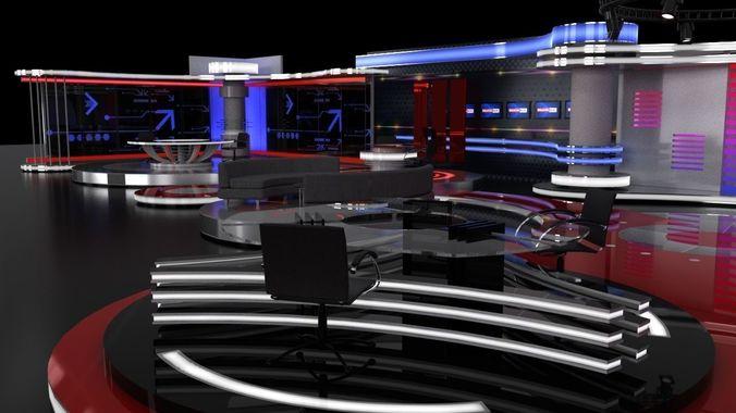 tv studio sets 3d model obj mtl fbx ma mb mel 1