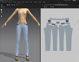 3D model jeans marvelous designer v3