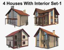 3D model House With Interior Set 1