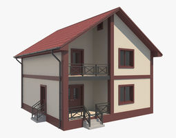 3D House With Interior 4