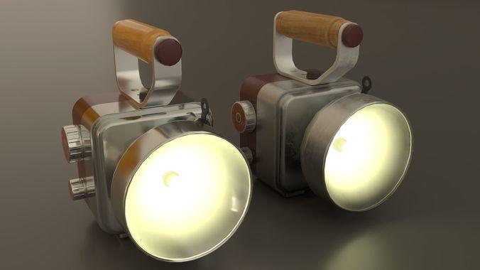 retro handheld flashlight 3d model low-poly animated fbx blend unitypackage prefab 1